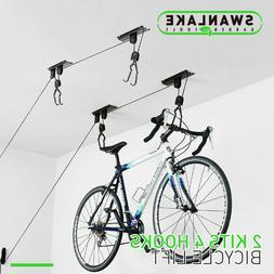 2-Pack Bike Lift Hoist Bicycle Lift Ceiling Mounted Garage H