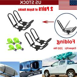 2 Pairs Folding Universal SUV Kayak Roof Rack J-Bar Canoe To