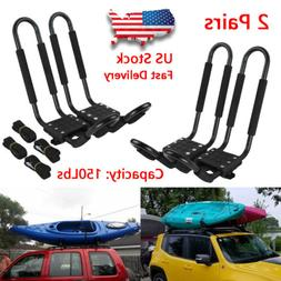2 Pairs Universal Roof J-Bar Rack Kayak Boat Canoe Car SUV T