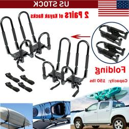 2 PCS Universal Kayak Roof Racks J-Bar Top Mount Car Carrier