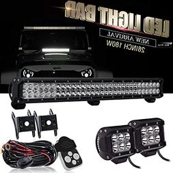 "28""180W Spot Flood Led Offroad Light Bar W/ 4IN Pods Cube Fo"