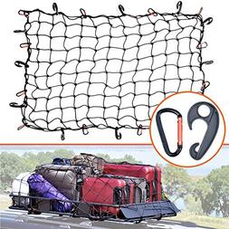 3'x4' Super Duty Bungee Cargo Net Stretches to 6'x8' for Ove