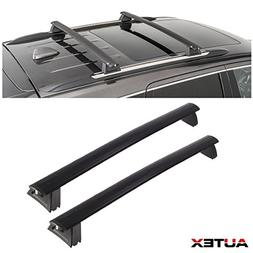 AUTEX 2Pcs Aluminum Roof Rail Rack Cross Bar Cargo Luggage C
