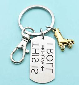 Roller Skating keychain with gold plated pewter roller skate