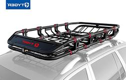 with Removable Extension Kit Wind Fairing Tyger Auto TG-RK1B906B X-Large//68 x 41 x 8 Super Duty Roof Cargo Basket//Luggage Carrier Rack