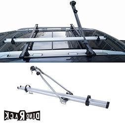 VIOJI 1pc Grey Aircraft Aluminum Roof Bicycle Rack With Lock
