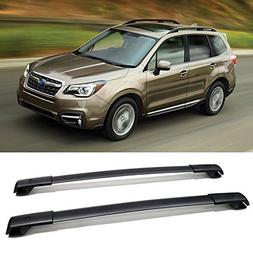 VIOJI 1 Pair Black Aluminum Roof Racks Top Rail Carries For