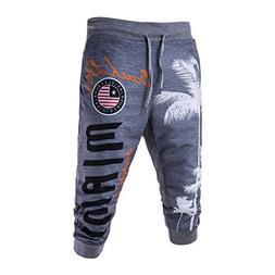 iOPQO Casual Pants for Men, Drawstring Elastic Print Loose S