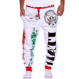 iOPQO Casual Pants for Men, Drawstring Elastic Print Casual