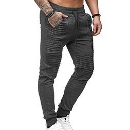 iOPQO Casual Pants for Men, Sports Stripe Lashing Belt Casua