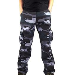 iOPQO Casual Pants for Men, Camouflage Pocket Overalls Sport