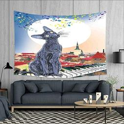 smallbeefly Cat Customed Widened Tapestry Black Cat on Rooft