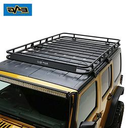 EAG 07-18 Jeep Wrangler JK 4 Door Roof Rack Cargo Basket wit