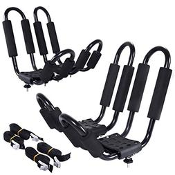 Goplus Kayak Carrier Universal 2 Pair J- Shape Rack Canoe Bo