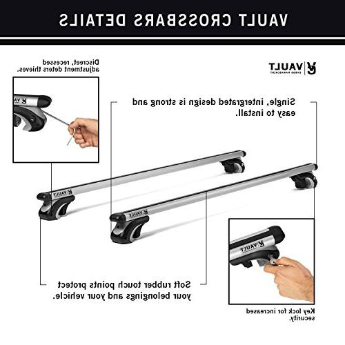 Roof Universal Locking Crossbars by Vault - Canoe, Cargo with Design Mounts to The of or SUV Raised Rail