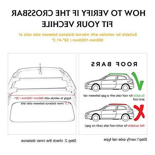 AUXMART 1Pc Roof Cross Aluminum Roof Top Rail Luggage Carrier Most Vehicles - / 80KG Capacity