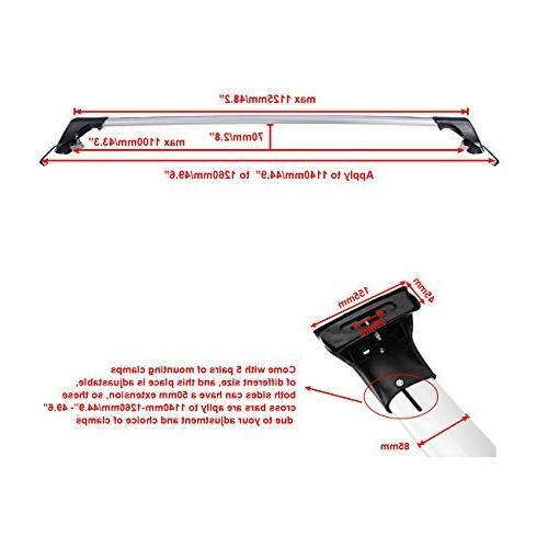 AUXMART Crossbars Apply to with car roof width Adjustable for Most Vehicle Roof Side Rail Capacity