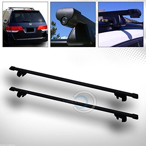 R/&L Racing 52 Black Square Type Roof Rail Rack Cross Bar Kit with Cargo Carrier Luggage Basket C1