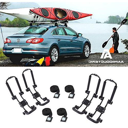 AA Products Steel Double Folding Rack for Carrier Canoe Surfboard Roof on Car Crossbar