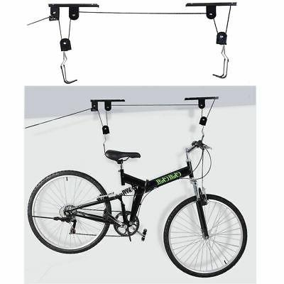 bike bicycle lift ceiling mounted hoist storage