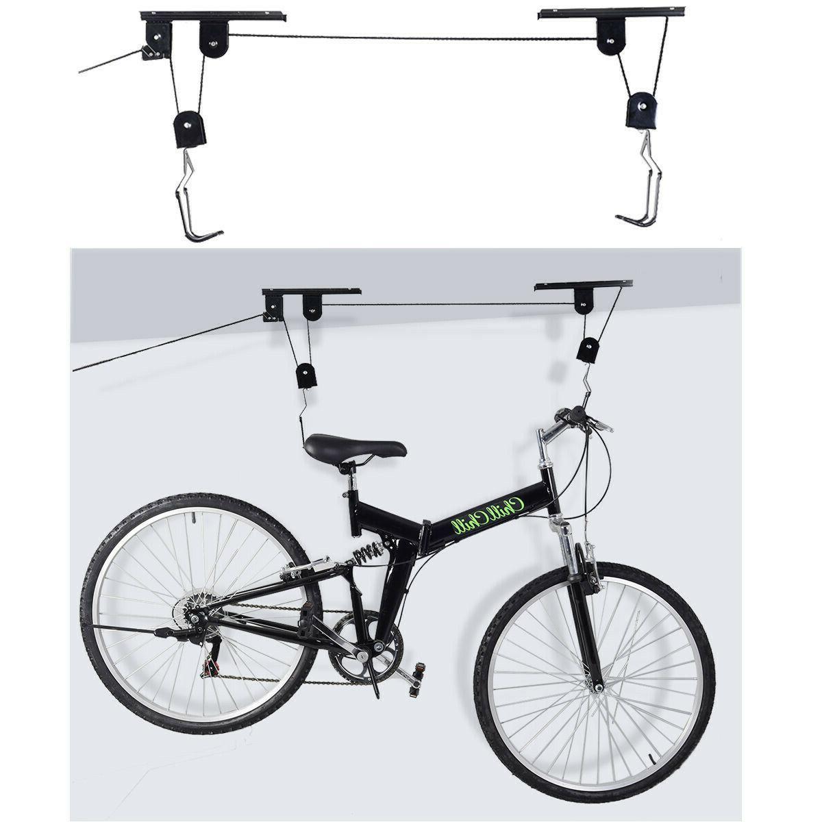 Bike Ceiling Lift Rack Hoist Sturdy Durable Construction Saf
