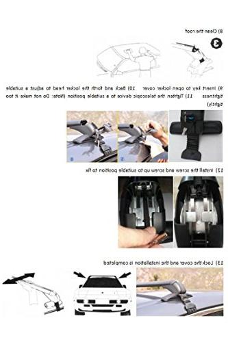 Bowoshen Roof Rack Anti Theft Lockable 2 Clamps Easy