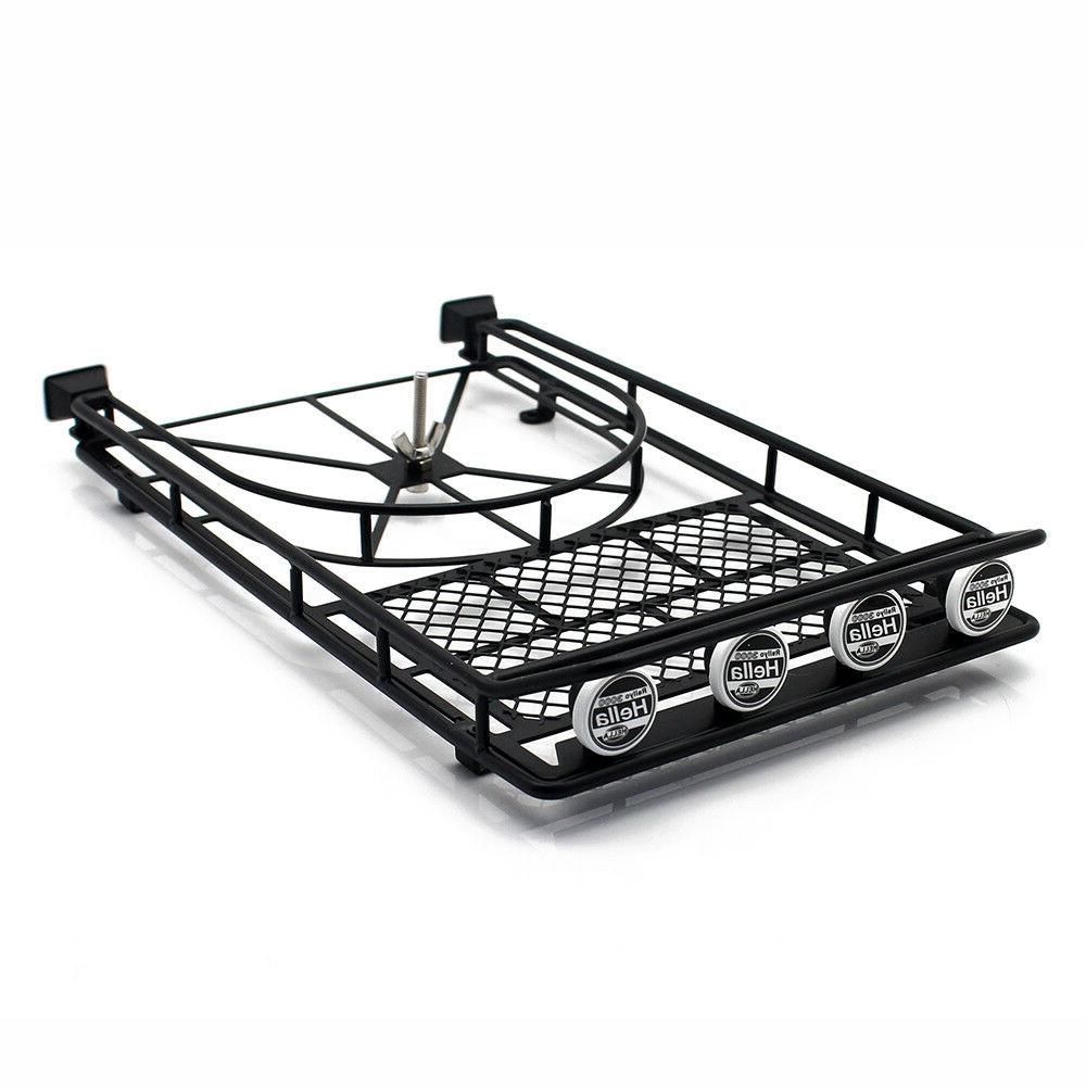 Roof Luggage Rack 4 LED SPOT Light Bar for RC AXIAL SCX10 Ro