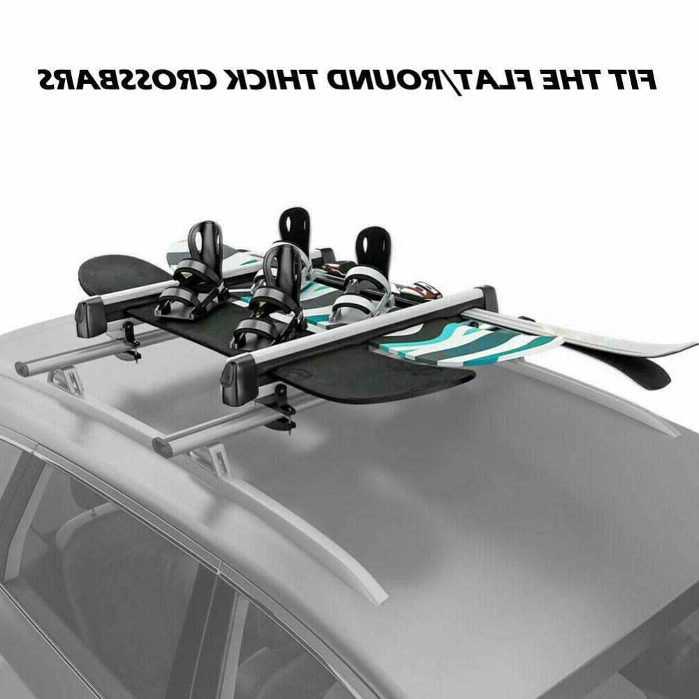 Universal Car Rack Carriers Holder 4 Snowboard Pair Skis