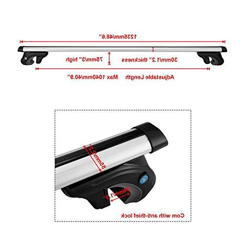AUXMART Universally Roof Crossbars Most Car with Lock Key Capacity