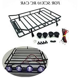 USHOT Roof-rack 1:10 RC Cars Roof Luggage Rack LED Light Rem