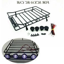Roof-rack 1:10 RC Cars Roof Luggage Rack LED Light Remote Co