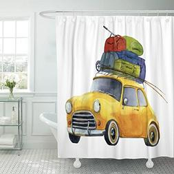 Breezat Shower Curtain Colorful Summer Yellow Car with Roof